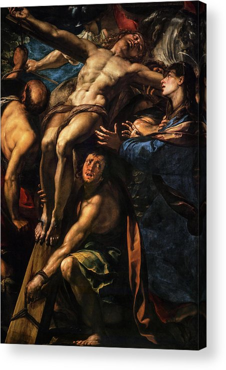 Giulio Cesare Procaccini Acrylic Print featuring the painting The Raising Of The Cross, 1620 by Giulio Cesare Procaccini
