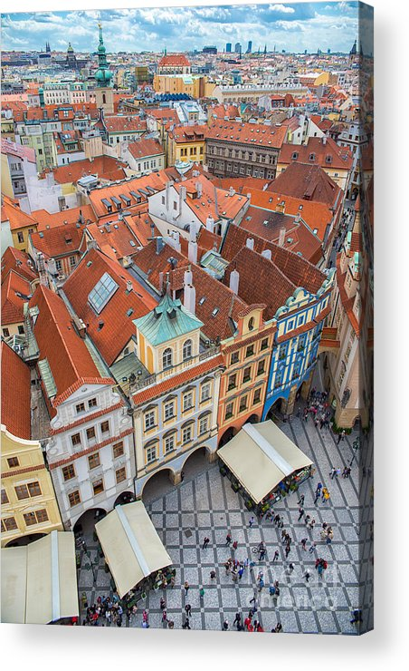 Crowd Acrylic Print featuring the photograph View Over The Rooftops Of The Old Town by Badahos