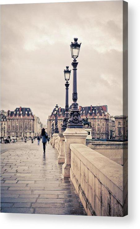 People Acrylic Print featuring the photograph Walking In Pont Neuf, Paris, France by Zodebala
