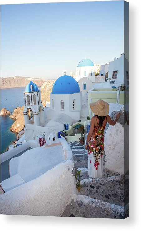 Three Quarter Length Acrylic Print featuring the photograph Woman Looking At View In The Island Of by Matteo Colombo