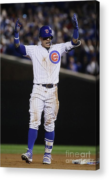 Playoffs Acrylic Print featuring the photograph Terrance Gore And Javier Baez by Jonathan Daniel