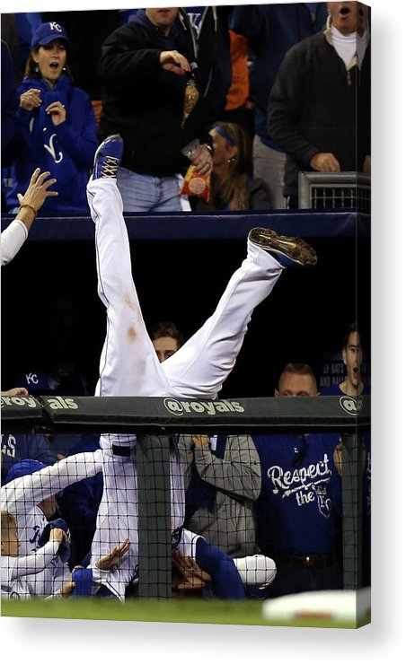 People Acrylic Print featuring the photograph Mike Moustakas And Adam Jones by Ed Zurga