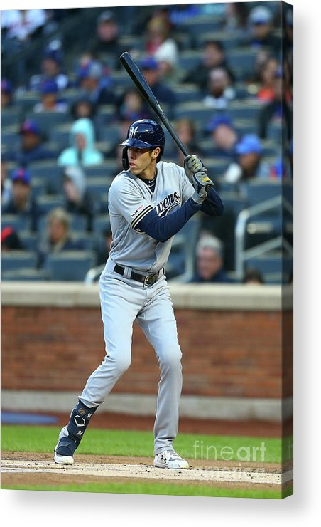 People Acrylic Print featuring the photograph Christian Yelich by Mike Stobe