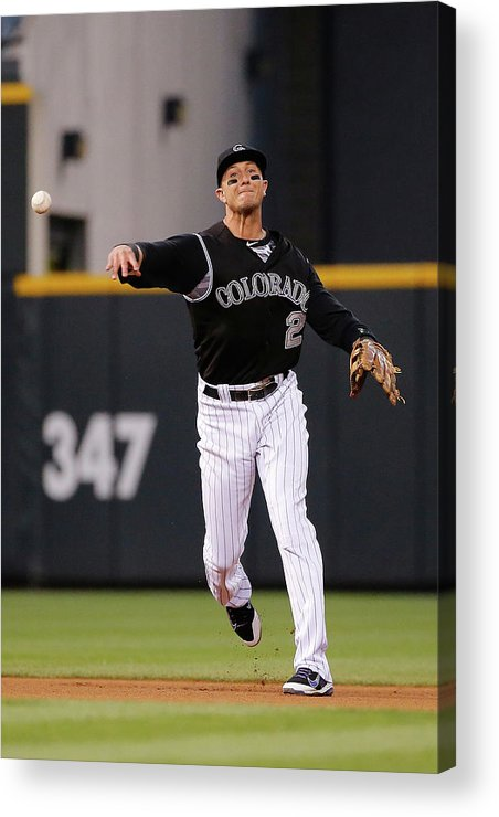 People Acrylic Print featuring the photograph Troy Tulowitzki by Doug Pensinger