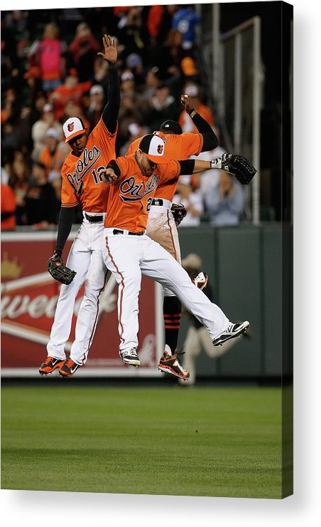 Following Acrylic Print featuring the photograph Alejandro De Aza, Steve Pearce, And Adam Jones by Rob Carr
