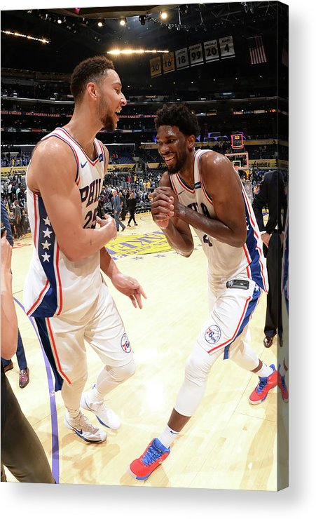 Nba Pro Basketball Acrylic Print featuring the photograph Ben Simmons And Joel Embiid by Andrew D. Bernstein