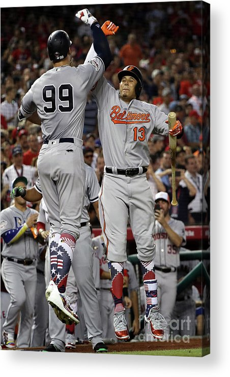 Second Inning Acrylic Print featuring the photograph Manny Machado And Aaron Judge by Patrick Smith