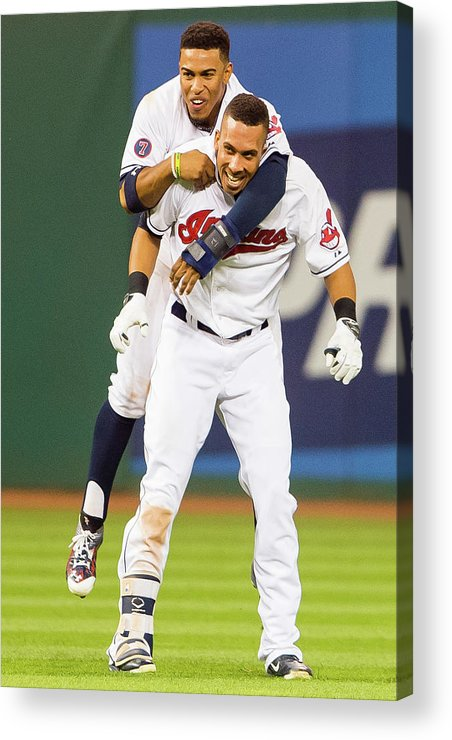 People Acrylic Print featuring the photograph Michael Brantley And Francisco Lindor by Jason Miller