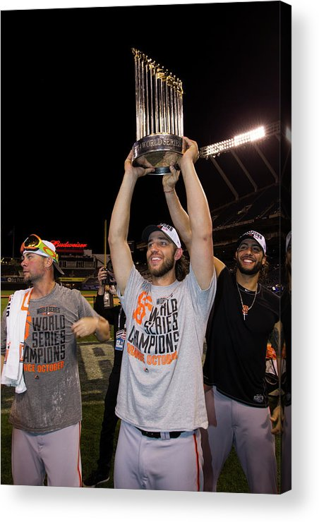 Playoffs Acrylic Print featuring the photograph Mike Morse, Ryan Vogelsong, And Madison Bumgarner by Brad Mangin