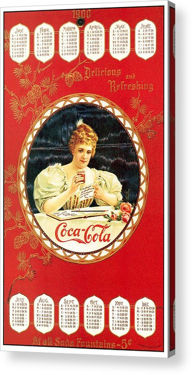 Coca-cola Acrylic Print featuring the photograph Coca - Cola Vintage Poster Calendar by Gianfranco Weiss