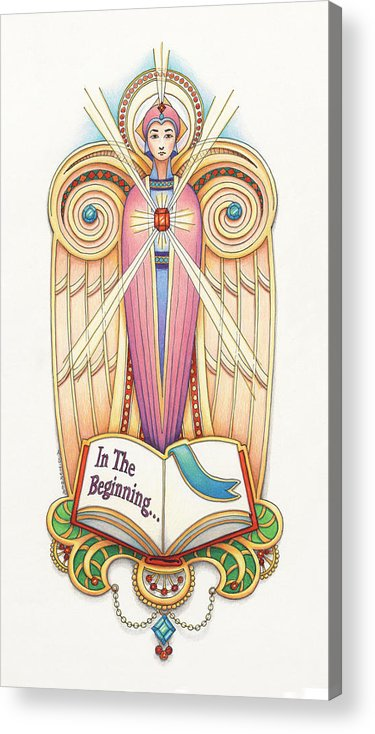 Colored Pencil Acrylic Print featuring the drawing Scroll Angel - Ionica by Amy S Turner