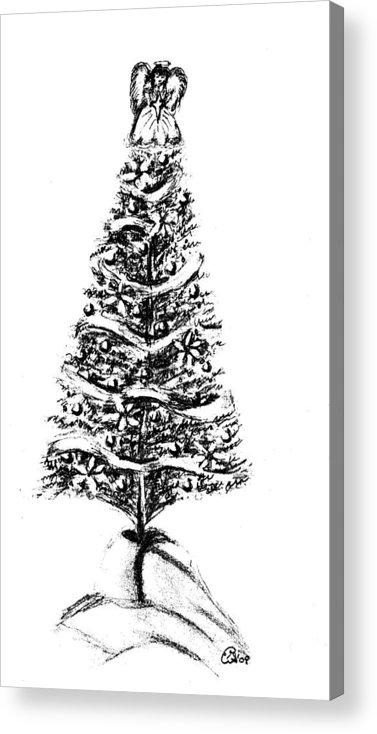 Ornament Acrylic Print featuring the drawing Christmas Tree Bw by Gail Schmiedlin