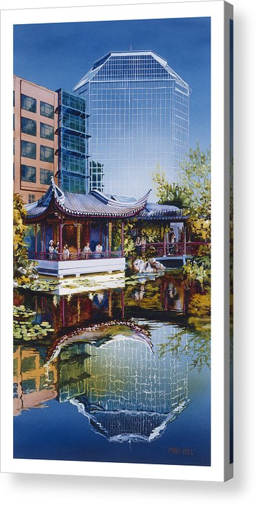 Portland Chinese Oriental Garden Asian Water Lilies Reflection Pagoda Office Building Blue Pond City Acrylic Print featuring the painting Occidental Oasis by Mike Hill