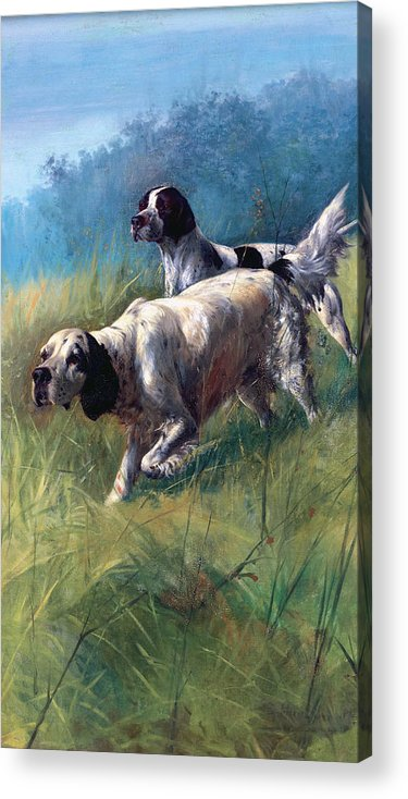 Dogs Acrylic Print featuring the painting On The Scent by Unknown