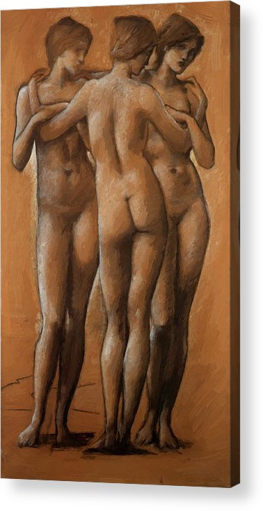 The Acrylic Print featuring the painting The Three Graces by BurneJones Edward