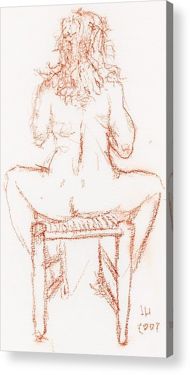 Drawings Acrylic Print featuring the drawing Thinking Back by Jerry Hanks