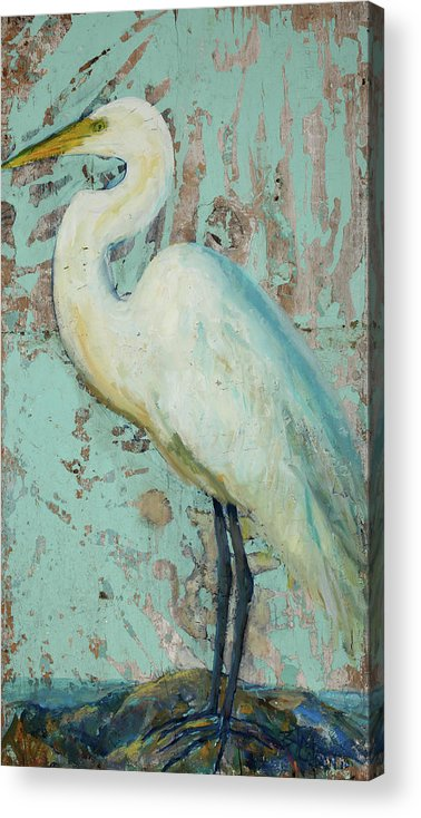 Crane Acrylic Print featuring the painting White Crane by Billie Colson