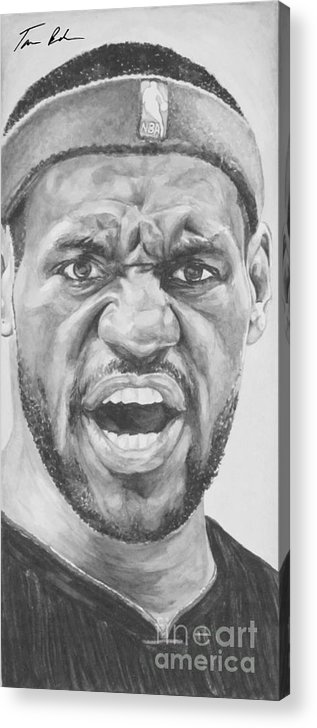 Lebron Acrylic Print featuring the painting Intensity Lebron James by Tamir Barkan