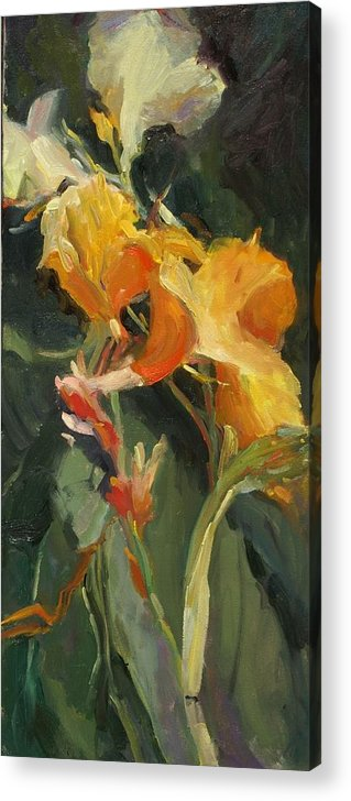 Yellow Canna Floral Garden Impressionistic Florals Acrylic Print featuring the painting Canna by Elizabeth Taft