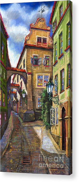 Prague Acrylic Print featuring the painting Prague Old Street by Yuriy Shevchuk