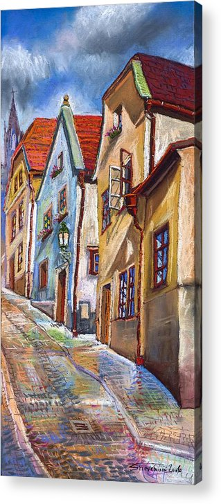 Pastel Chesky Krumlov Old Street Architectur Acrylic Print featuring the painting Cesky Krumlov Old Street 2 by Yuriy Shevchuk