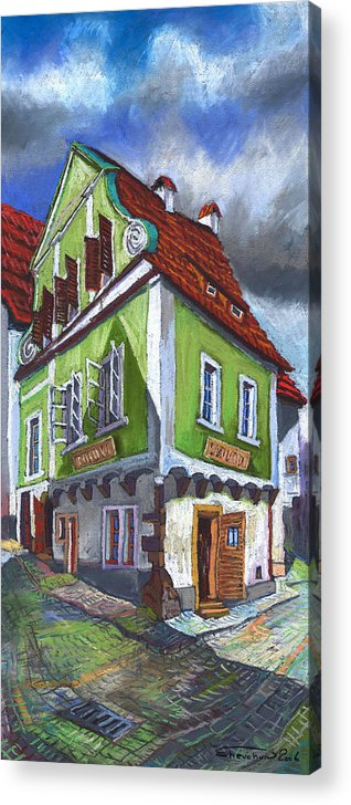 Pastel Chesky Krumlov Old Street Cityscape Realism Architectur Acrylic Print featuring the painting Cesky Krumlov Old Street 3 by Yuriy Shevchuk