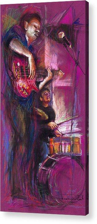 Jazz Acrylic Print featuring the painting Jazz Purple Duet by Yuriy Shevchuk