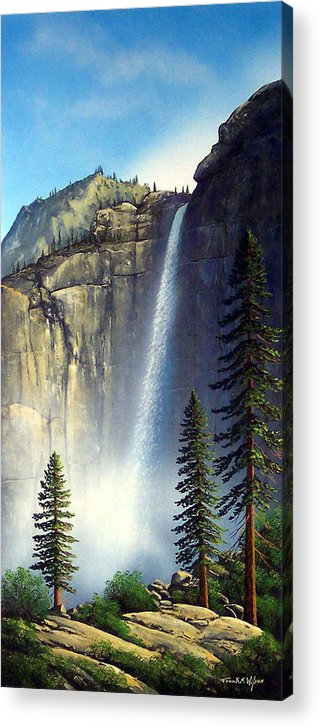 Landscape Acrylic Print featuring the painting Majestic Falls by Frank Wilson