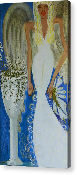 Angel Artwork Acrylic Print featuring the painting Peace And Love Angel by Helen Gerro