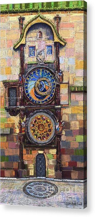 Cityscape Acrylic Print featuring the painting Prague The Horologue At Oldtownhall by Yuriy Shevchuk