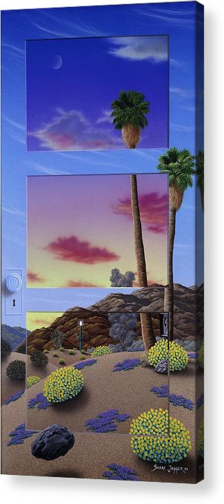 Landscape Acrylic Print featuring the painting Sunset Door by Snake Jagger