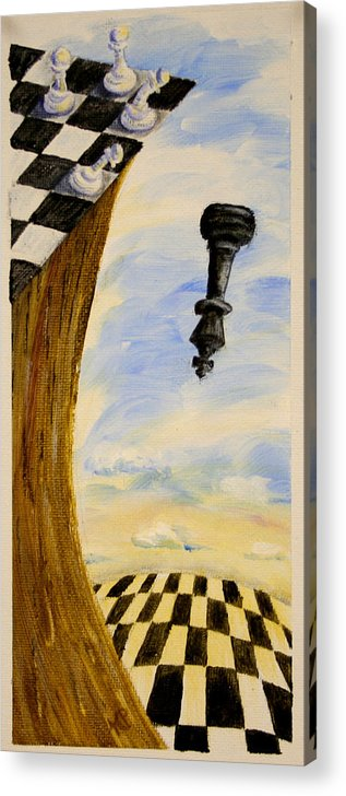Chess Acrylic Print featuring the painting The Bigger Your Are The Harder You Fall by Karen Peterson