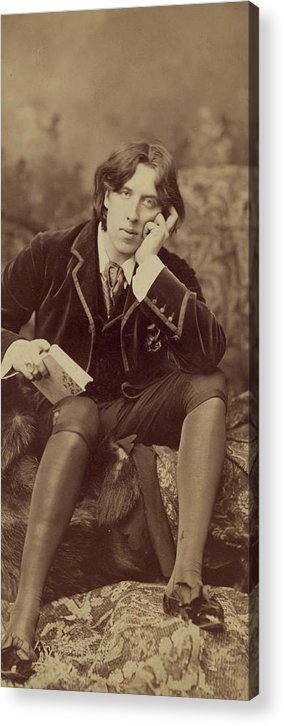 Oscar; Wilde; Irish; Writer; Poet; Author; Dandy; Photograph; Sepia; Black; White; Velvet; Smoking; Jacket; Breeches; Wearing; Stockings; Full; Length; Seated; Oscar Wilde Acrylic Print featuring the photograph Oscar Wilde 1882 by Napoleon Sarony