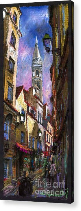 Pastel Acrylic Print featuring the painting Paris Montmartre by Yuriy Shevchuk