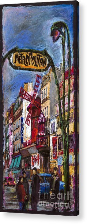 Cityscape Acrylic Print featuring the painting Paris Mulen Rouge by Yuriy Shevchuk