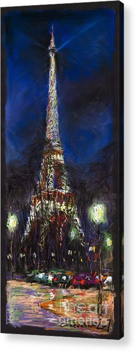 Pastel Acrylic Print featuring the painting Paris Tour Eiffel by Yuriy Shevchuk