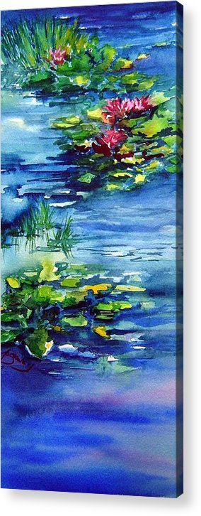 Waterlilies Acrylic Print featuring the painting Waterlilies by Joanne Smoley