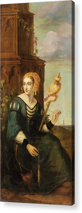 German Romantics In The 19th Century. Seated Noble Lady With Distaff Before Gothic Tower And Landscape View Acrylic Print featuring the painting Seated Noble Lady With Distaff Before Gothic Tower And Landscape View by MotionAge Designs