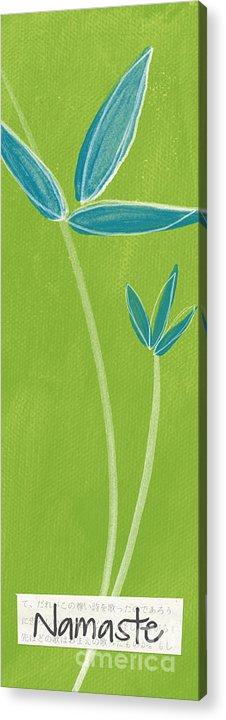 Namaste Acrylic Print featuring the painting Bamboo Namaste by Linda Woods