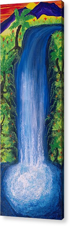 Landscape Acrylic Print featuring the painting Shasta Falls by Wisper Krimmer