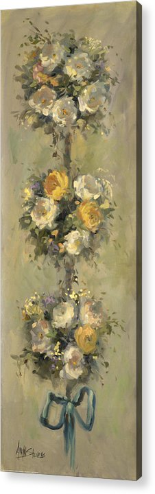 Still Life Acrylic Print featuring the painting Topiary Bouquet 1 by Allayn Stevens