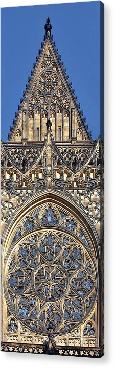 Rosette Acrylic Print featuring the photograph Rose Window - Exterior Of St Vitus Cathedral Prague Castle by Christine Till