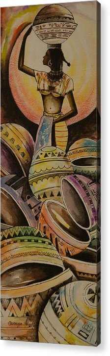 Acrylic Print featuring the painting Calabash Woman by Alfred Awonuga