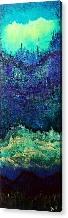 Blue Acrylic Print featuring the painting For Linda by Shadia Derbyshire