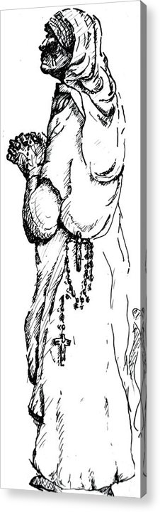 Compassion Acrylic Print featuring the drawing Mother Terasa by Dan Earle