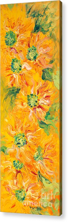 Yellow Acrylic Print featuring the painting Textured Yellow Sunflowers by Nadine Rippelmeyer