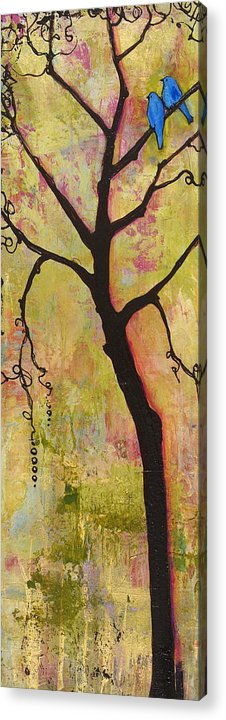 Tree Print Acrylic Print featuring the painting Tree Print Triptych Section 1 by Blenda Studio