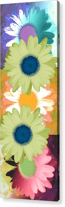ruth Palmer Art Acrylic Print featuring the digital art Vertical Daisy Collage II by Ruth Palmer