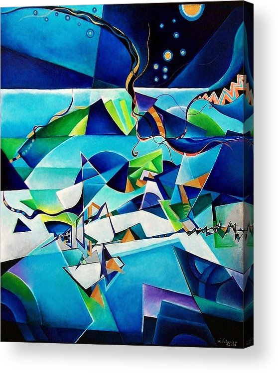 Landscpae Abstract Acrylic Wood Pens Acrylic Print featuring the painting Landscape by Wolfgang Schweizer