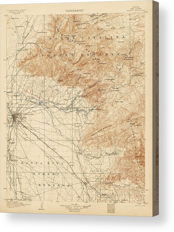 photograph about Printable Map of Tucson Az identified as Antique Map Of Tucson Arizona - Usgs Topographic Map - 1905 Acrylic Print